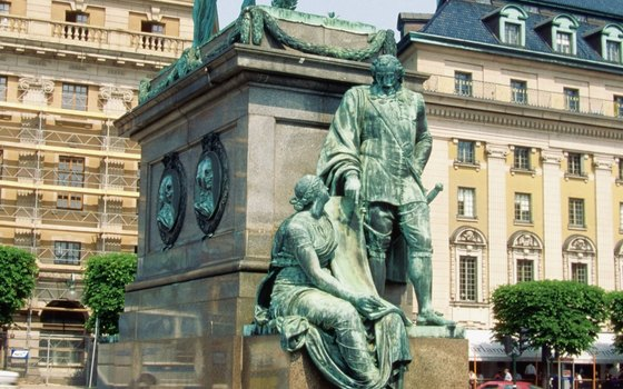 From the campsite, you are only a short bus ride from the attractions in the city center, such as the statue of Karl X at Stortorget in Malmo.