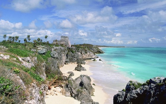 The coast south of Tulum pyramid complex is lined with beach hotels and cabanas.