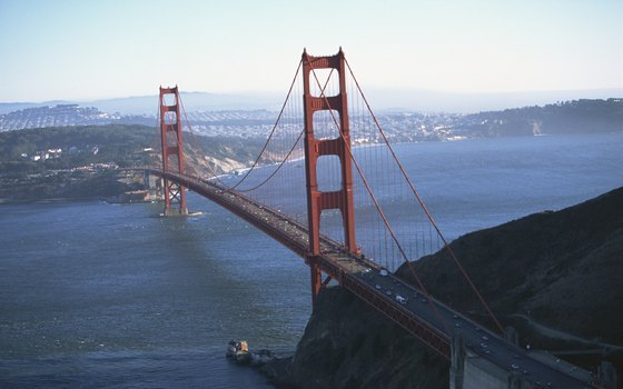 The Golden Gate Bridge connects San Francisco with Marin County.