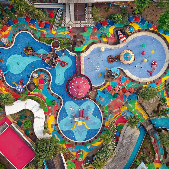 An ariel view of a water park.