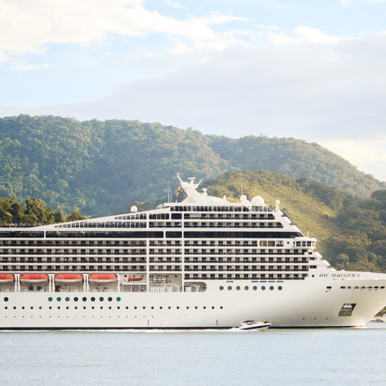 A big cruise ship near the bay with the hills in the background.