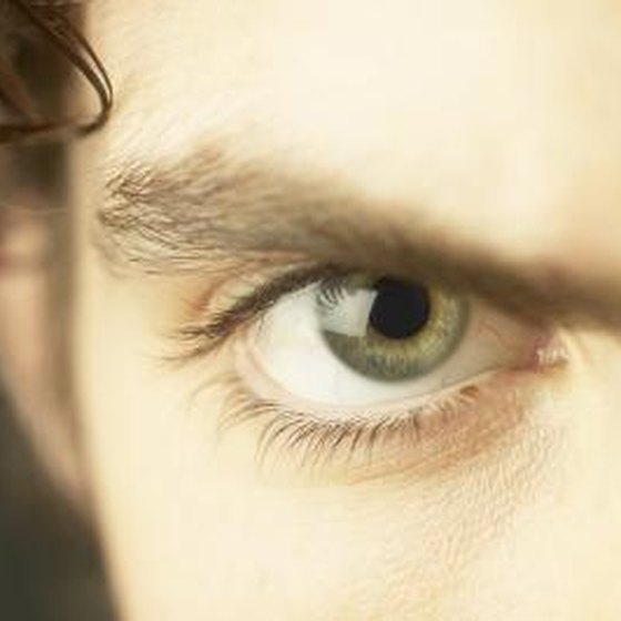 A close up of a man's eye