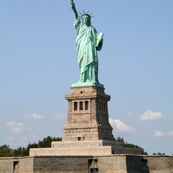 The Statue of Liberty sits on Liberty Island