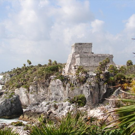 Tulum sits on the cliffs 80 miles south of Cancun.