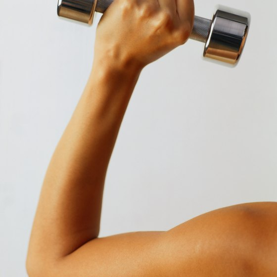 Use high repetitions to gain strength with 10-lb. dumbbells.