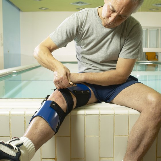 Knee braces are worn to stabilize the knee ligaments.