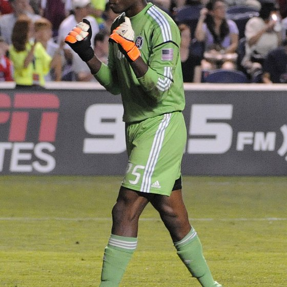 Keeper Sean Johnson of the Chicago Fire flexes his goalie gloves.