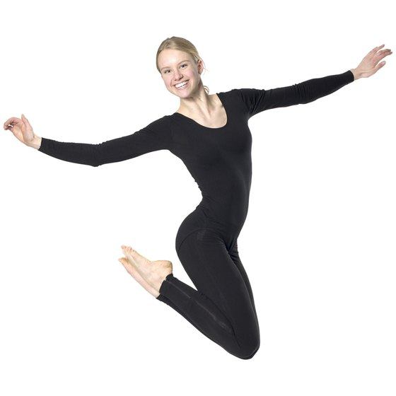 A high-impact aerobic dance move with both feet off the floor.