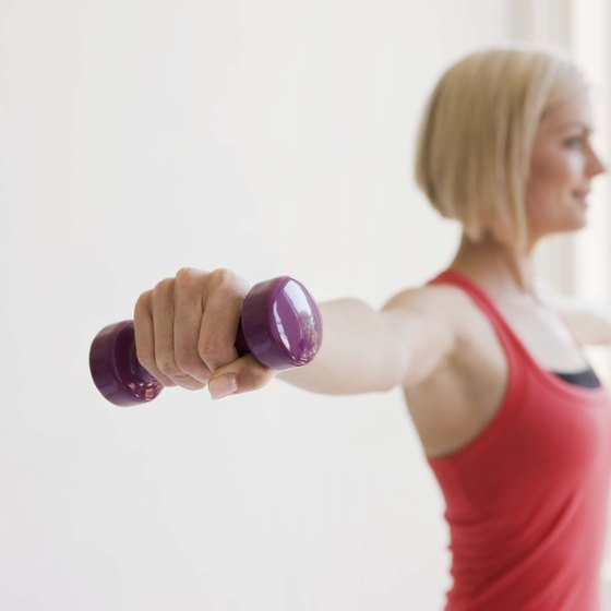 Use small weights at home to tone and strengthen your arms and upper body.