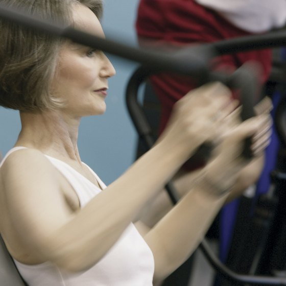 An older woman can strengthen the pectoralis with chest presses.
