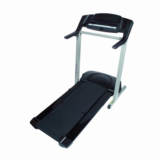 The deck folds into an upright position on a folding treadmill.