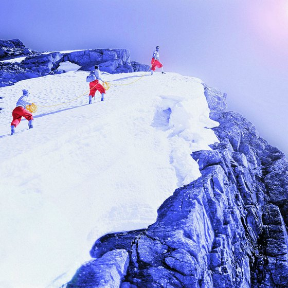 High-altitude mountain climbing is safest done with a team.