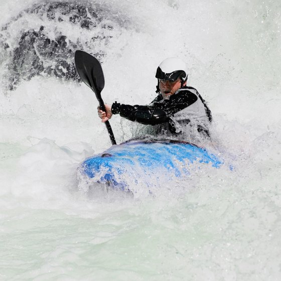 Frothy whitewater gives play-boaters opportunity to practice spins and other tricks.