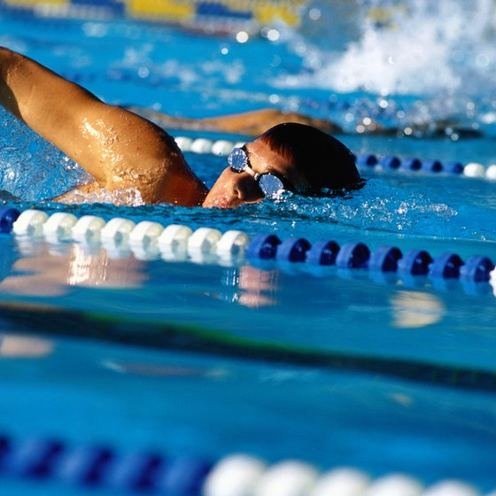 This swimmer demonstrates the bent elbow and tilted head of the front crawl.