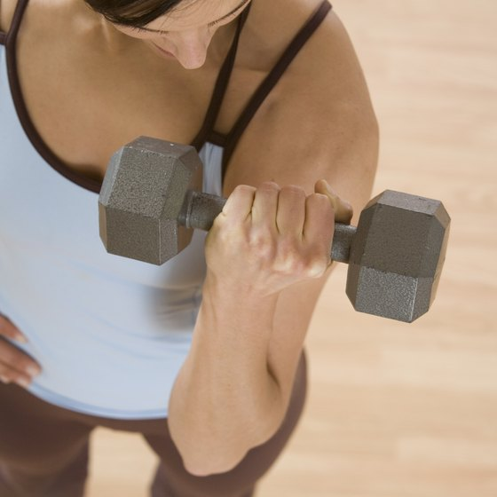 This woman is doing a proper dumbbell curl.