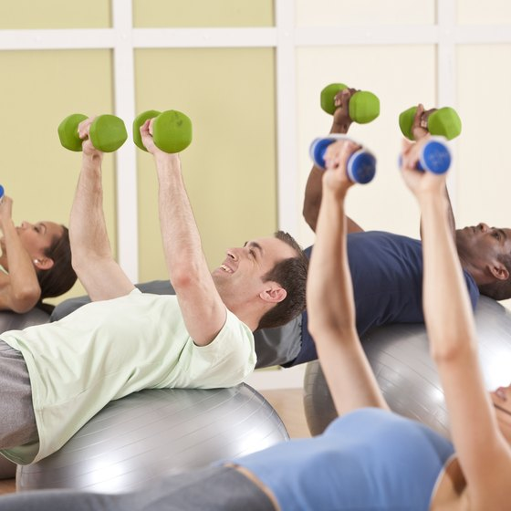 Workouts on an exercise ball engage multiple muscle groups.