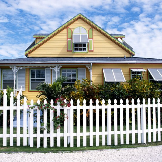 House with picket fence on Caribbean island of Grand Bahama