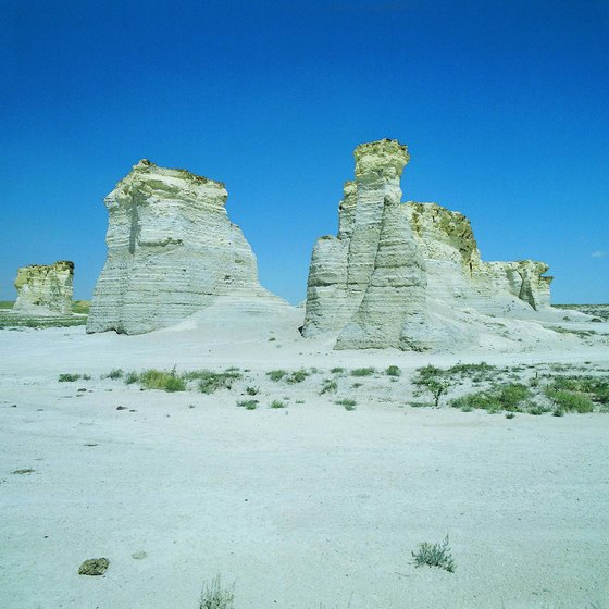 The Monument Rocks are chalk formations in the Smoky Hills region of Kansas.