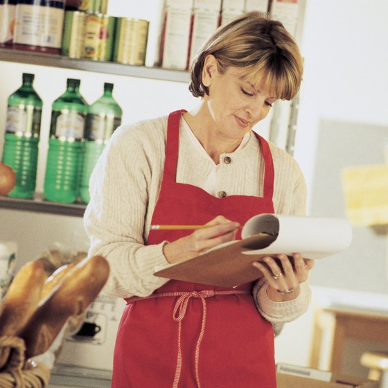 Small businesses sometimes manually track inventory, though computer technology allows for more automated management.