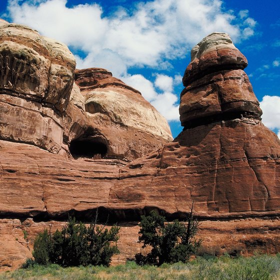 Utah attracts hikers in the summer with its beautiful rock formations.