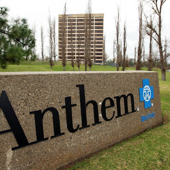 Close-up of Anthem Blue Cross sign.