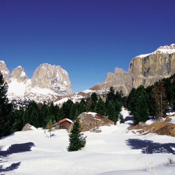 Winter is ski season in the Dolomites.