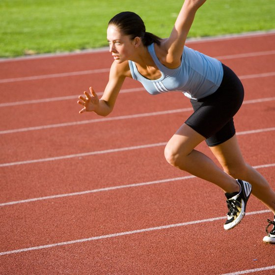 Running fast on a track is a vigorous workout.