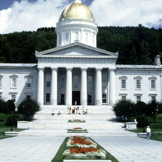 Vermont's State House was built in 1859 and features Ceres, goddess of agriculture, atop a golden dome.