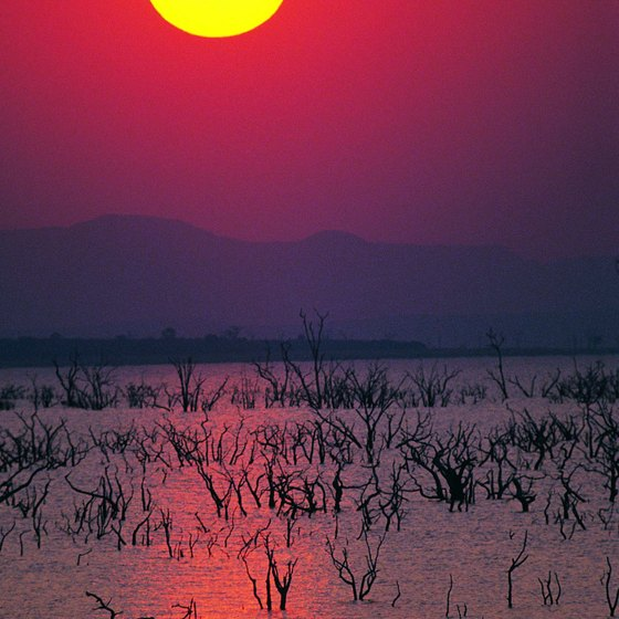 A sundown over Lake Kariba, the fourth largest man-made lake on earth.