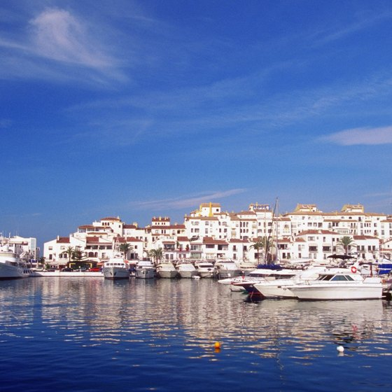 Luxury yachts and pleasure craft moored in one of Marbella's most exclusive marinas, Porto Banus.