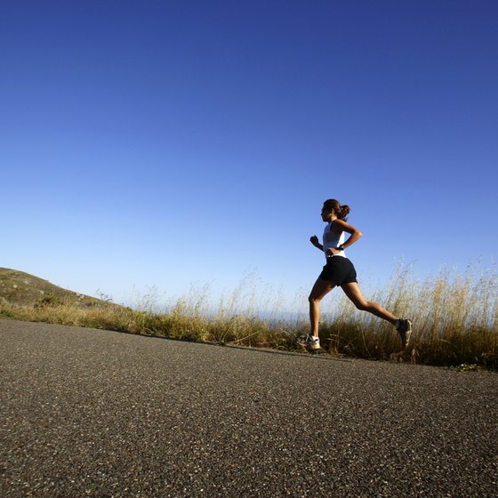 Running uphill challenges your endurance and strengthens your leg muscles.