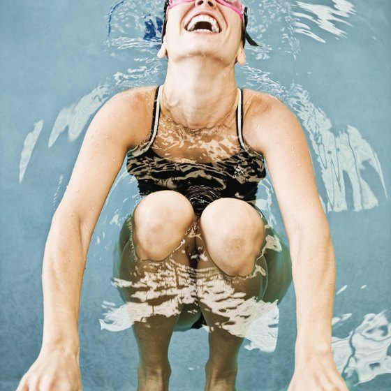 Swimming offers the benefits of a full body workout with low knee impact.