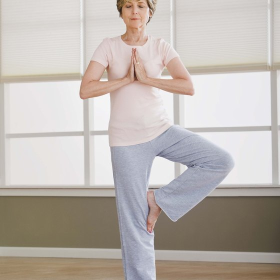 Older women can learn difficult yoga poses through practice.
