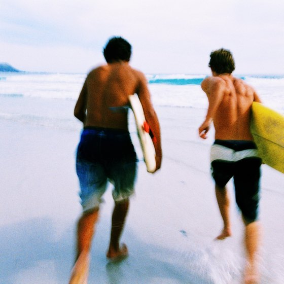 Surfing is a popular pastime at Pompéia and José Menino beaches.
