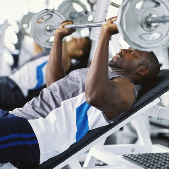 Incline bench presses are part of a weighlifting routine.