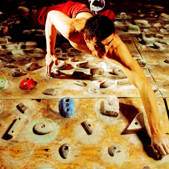 Indoor rock climbing is a fun activity for all ages.