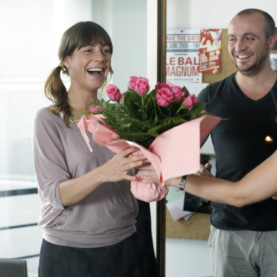 Flowers are a traditional choice as an office warming gift.