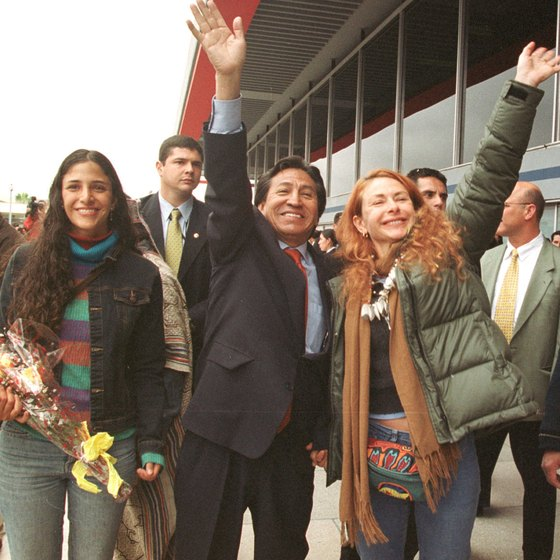 The former president of Peru, Alejandro Toledo, arrives at Jorge Chavez International Airport.