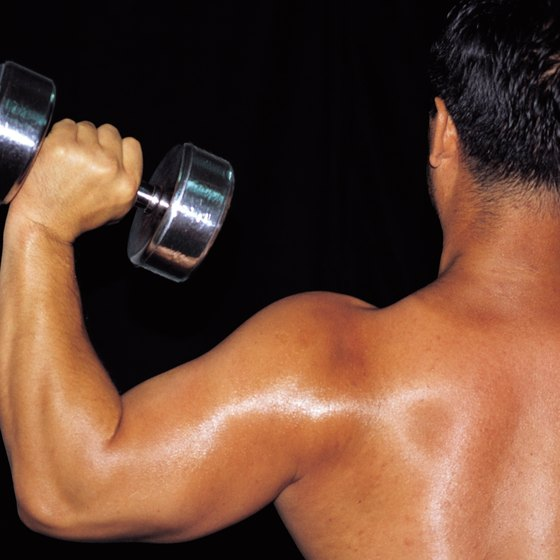 Dumbbell overhead presses are a good starting exercise for a beginner.