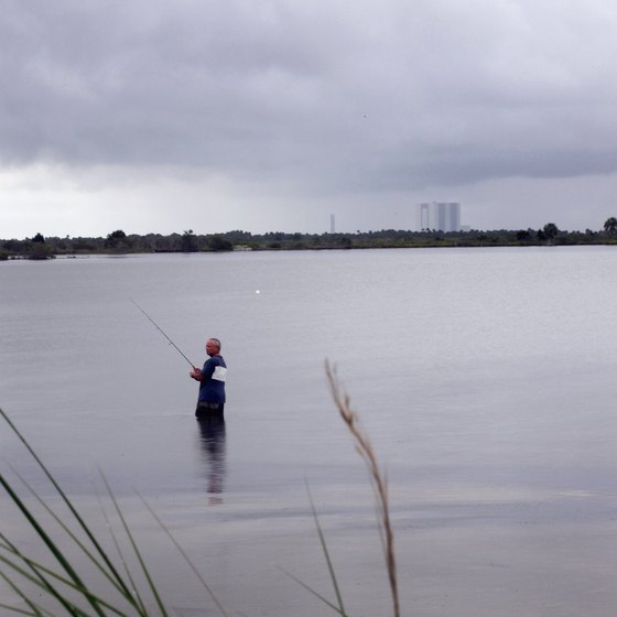 An angler tries his luck wade-fishing in Fort Prince, Florida.