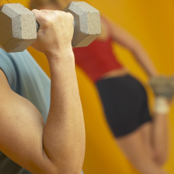 Biceps curls help tone arms.