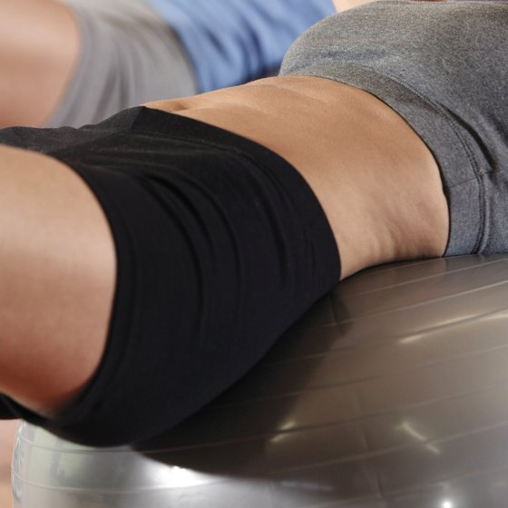 Crunches on an exercise ball are effective at toning the abs.