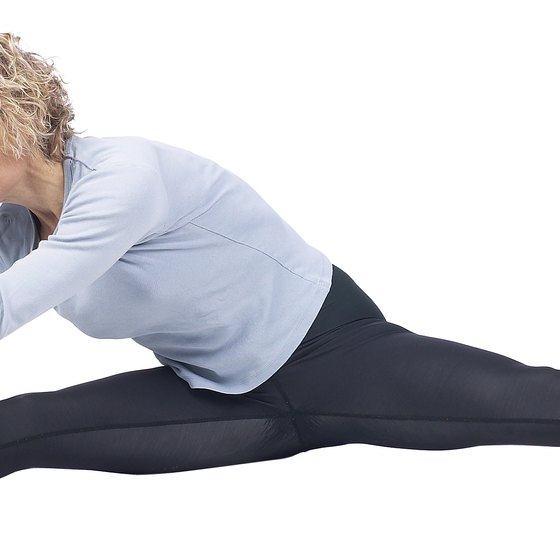Stretching elongates leg muscles for a leaner look.