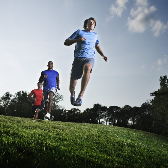 Taking huge leaps while jogging helps tone lower body muscles.