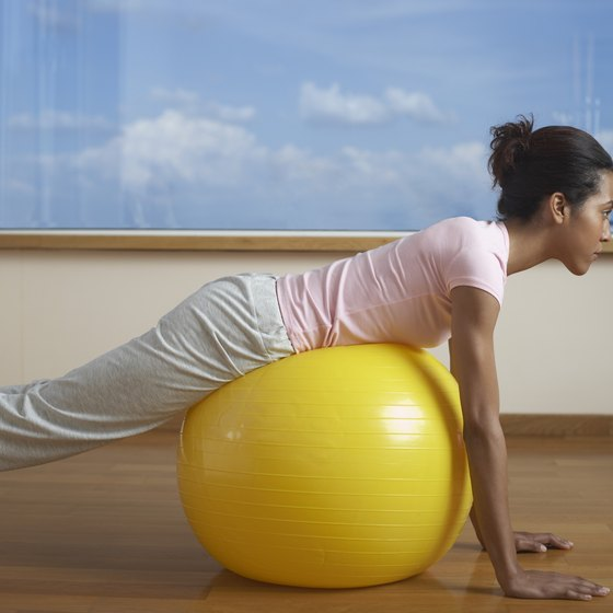 A slightly underinflated yoga ball is less likely to roll out from under you.