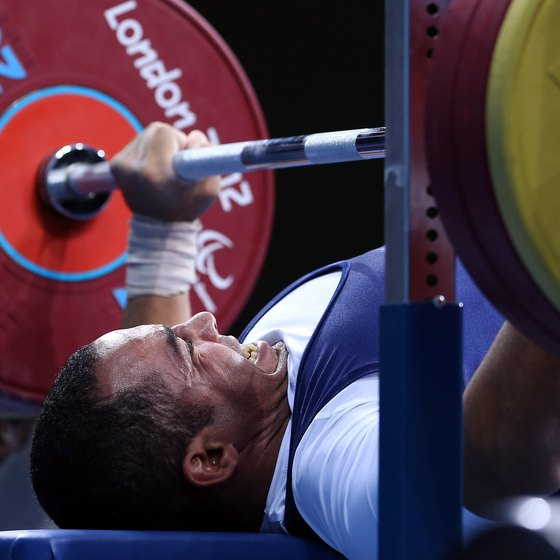 Bench presses from the push part of a pull/push competition.