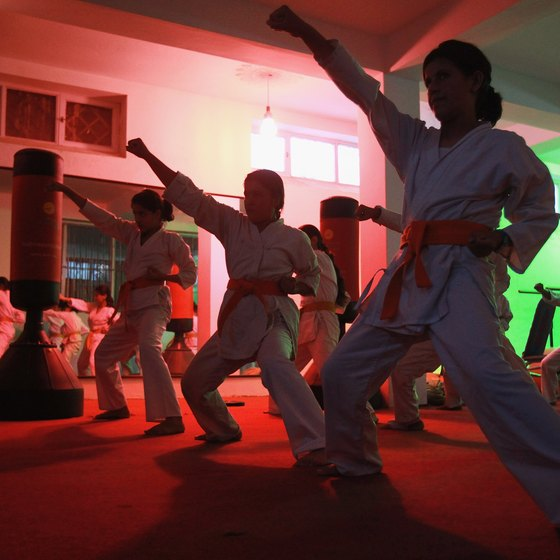 Karate has spread from Okinawa across the globe. These children are practicing karate in Kabul, Afghanistan.