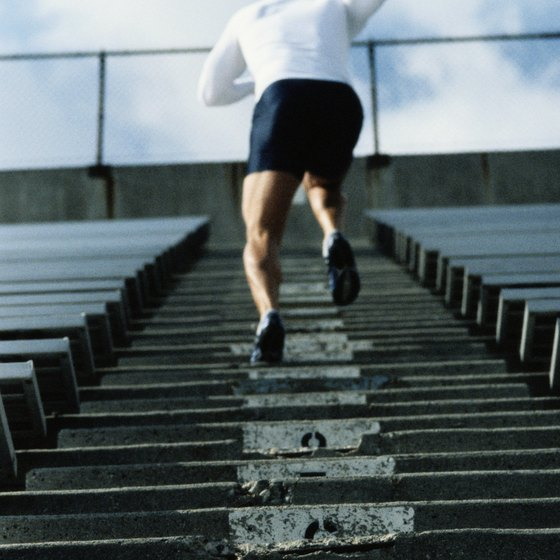 Running stairs works your calves and improves cardiovascular fitness.