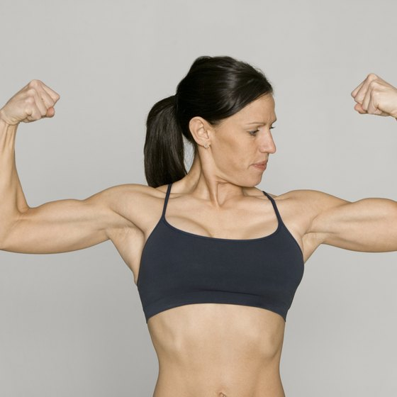 Build tone in your arms and legs with high-volume weight training.