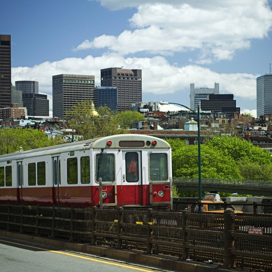 The train is the most efficient means of traveling around Boston.